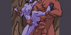 Purple Demon Fucked by Two Cocks